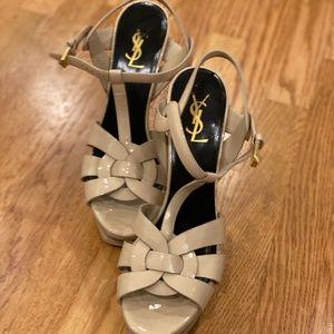Size 9 Yves Saint Laurent Tan  heels. Worn once!